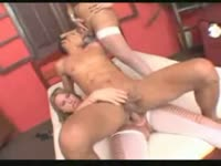 Wonderful blonde shemale starlet Krys Bertolly and her tranny friend take turns on a happy stud